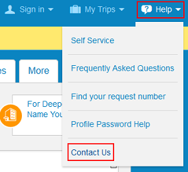 Priceline Contact Us button