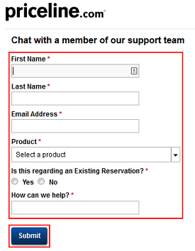 Priceline chat form