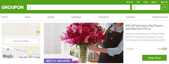 Groupon homepage