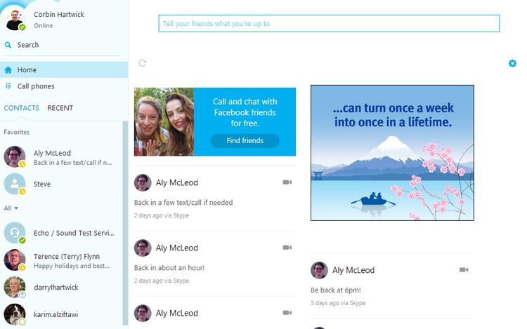 What you will see on the main screen of Skype