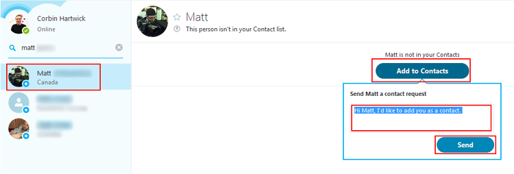 How to request adding a Skype user as a contact