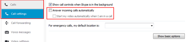 How to turn automatic call answering in Skype on or off