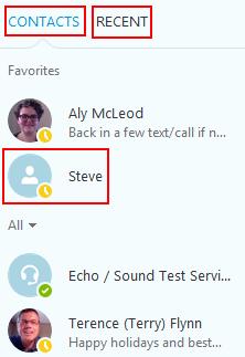 Your Skype contacts menu