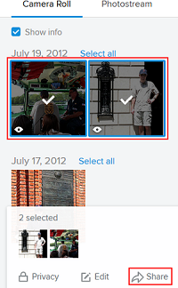 Flickr photo sharing screen