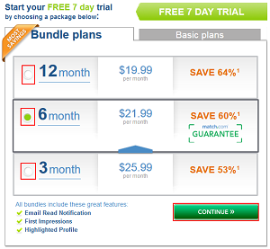 Choose a Match.com plan