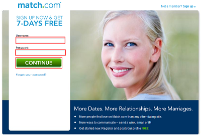 Sign up for Match.com for free