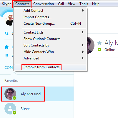 How to remove a Skype user from your contacts list