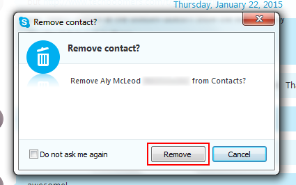 How to confirm removal of a Skype user from your contacts list