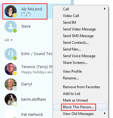 How to block a Skype contact by using a mouse shortcut