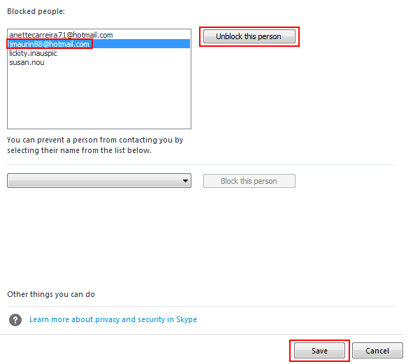 How to unblock one or more Skype contacts
