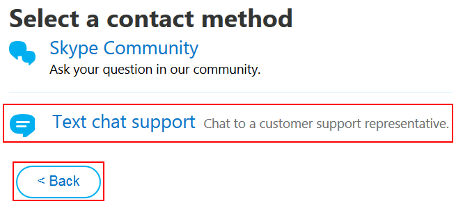 How to choose the way in which you wish to contact Skype