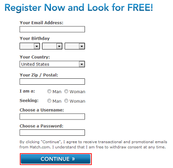 Register for a Match.com account