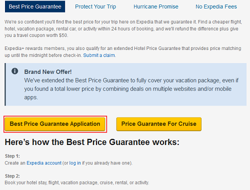 Application for Expedia Best Price Guarantee