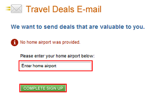 Enter home airport to sign up
