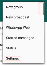 WhatsApp settings menu