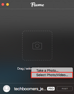 Select photo from desktop