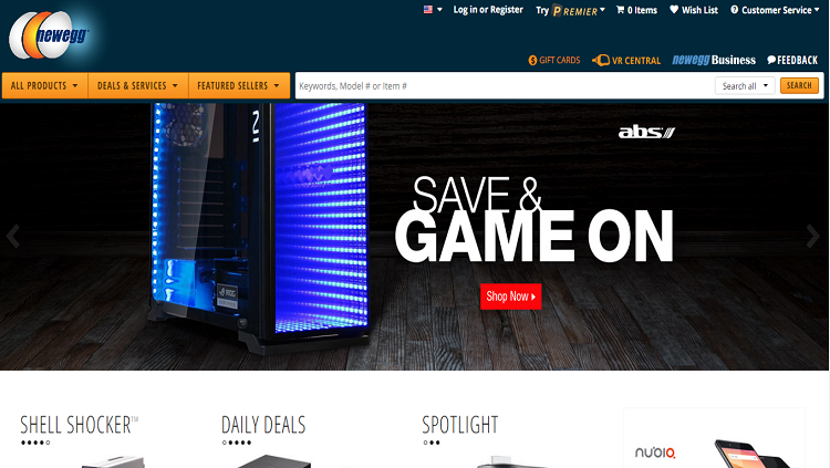 NewEgg homepage