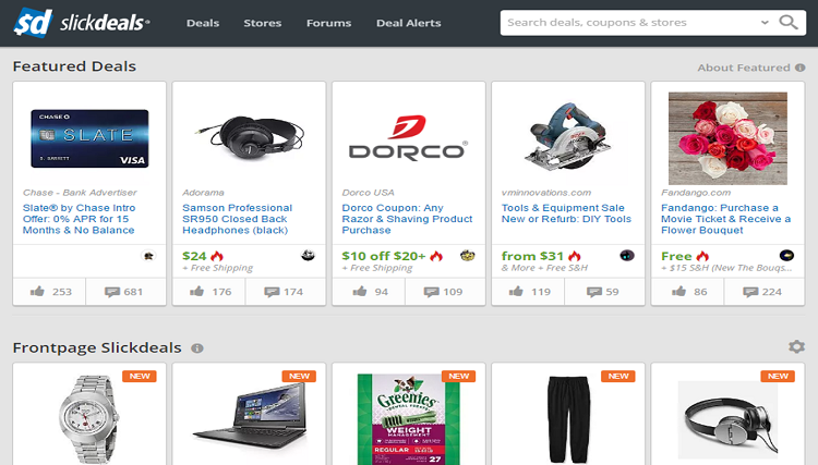SlickDeals homepage