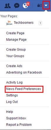 News Feed preferences menu