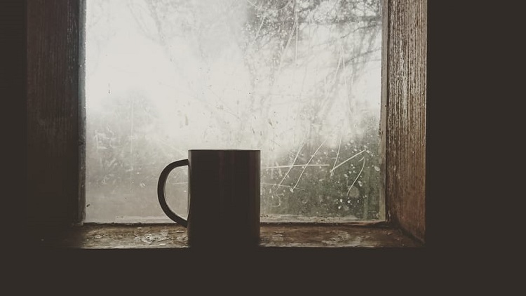 Coffee cup in a Winter window