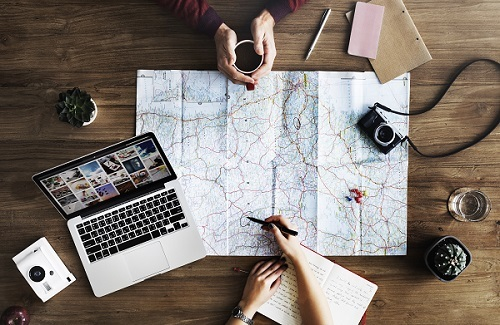 Planning a trip on a map