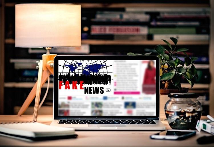 Fake news displayed on a laptop