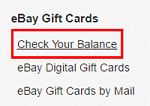 eBay Check Balance button for gift cards