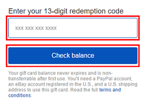 Gift card number redemption screen