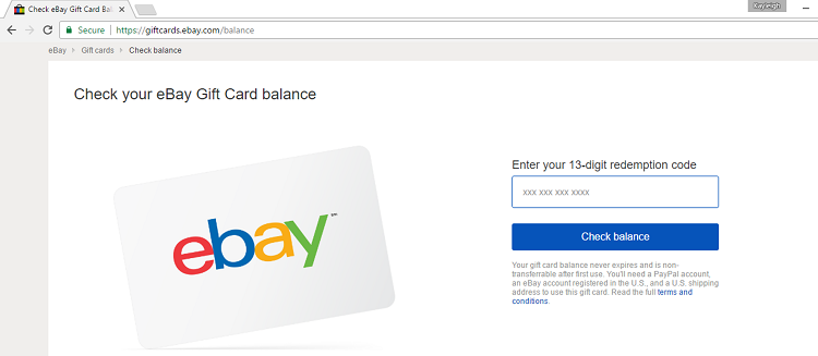 eBay gift card balance checker