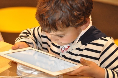 Young boy using a tablet