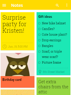 Google Keep main screen view