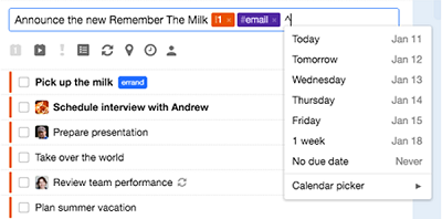 Add reminders to RememberTheMilk