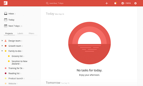 Todoist home screen