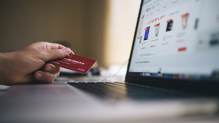 Credit card used for online shopping