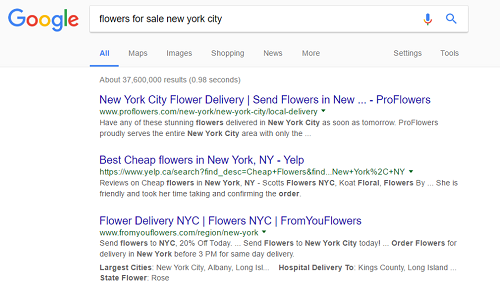 Google search results for flower sales in New York City
