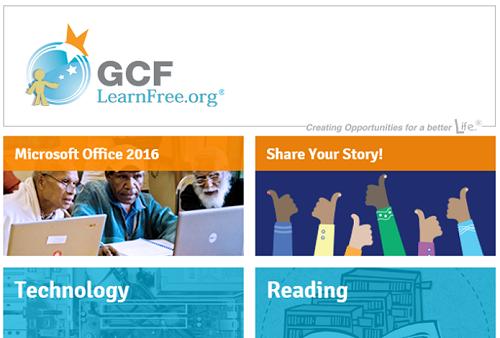GCF Learn Free homepage