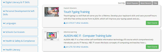 Alison course listings