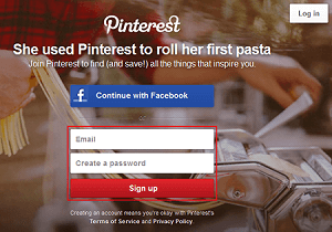 Pinterest sign up form