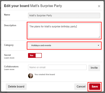 Edit your existing Pinterest board