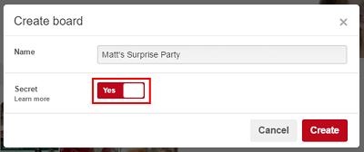 Choose if Pinterest board will be a secret
