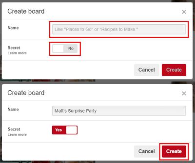 Create Pinterest board form