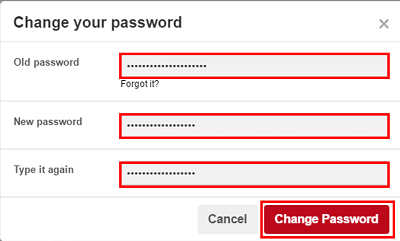 Enter a new password for Pinterest account