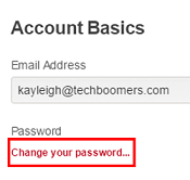 Change Pinterest password button