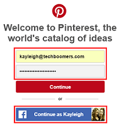 Pinterest sign in form