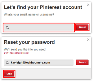 Send an email to recover Pinterest password