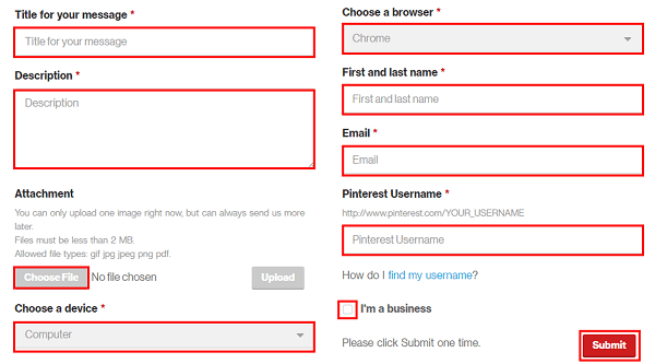 Pinterest contact form