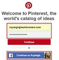 Pinterest sign in screen