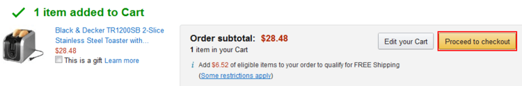 Proceed to checkout when shopping is complete