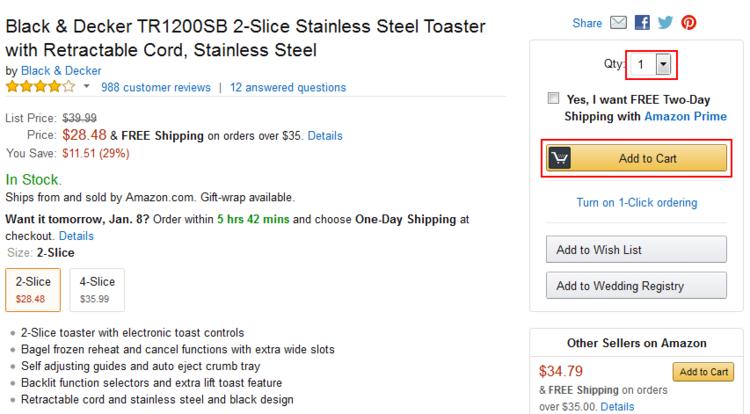 Add Amazon item to cart