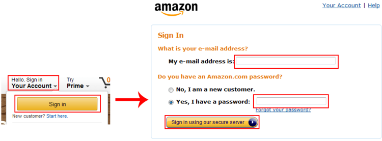 Amazon sign in screen